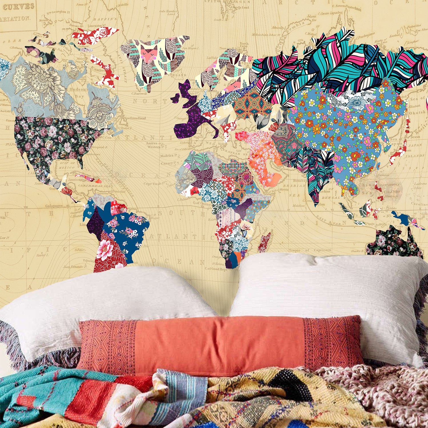 Amazon.com: Floral Watercolor World Map Tapestry Colorful Printed ...