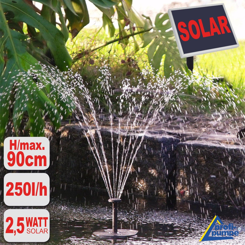 SOLAR TEICHPUMPE GARTEN BRUNNEN OASIS 250 1 LEISTUNGSOPTIMIERTE Solar  WASSERSPIEL Teichpumpe 2,5 Watt, Max. 250L/h Max. 0,9m Fontaenenhoehe Fuer  Gartenteich ...