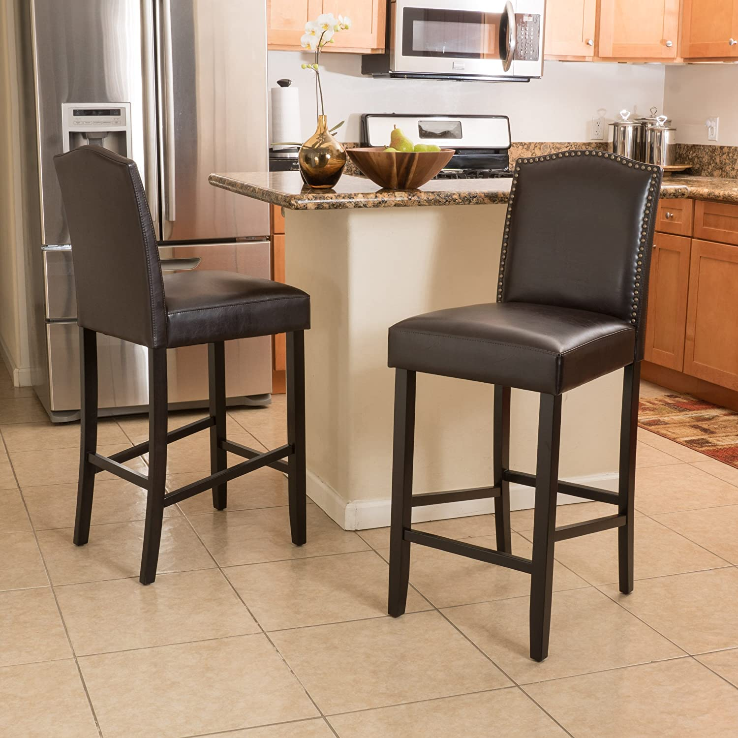 Amazon com great deal furniture auburn bonded leather backed bar stool with nail head accents brown set of 2 kitchen dining