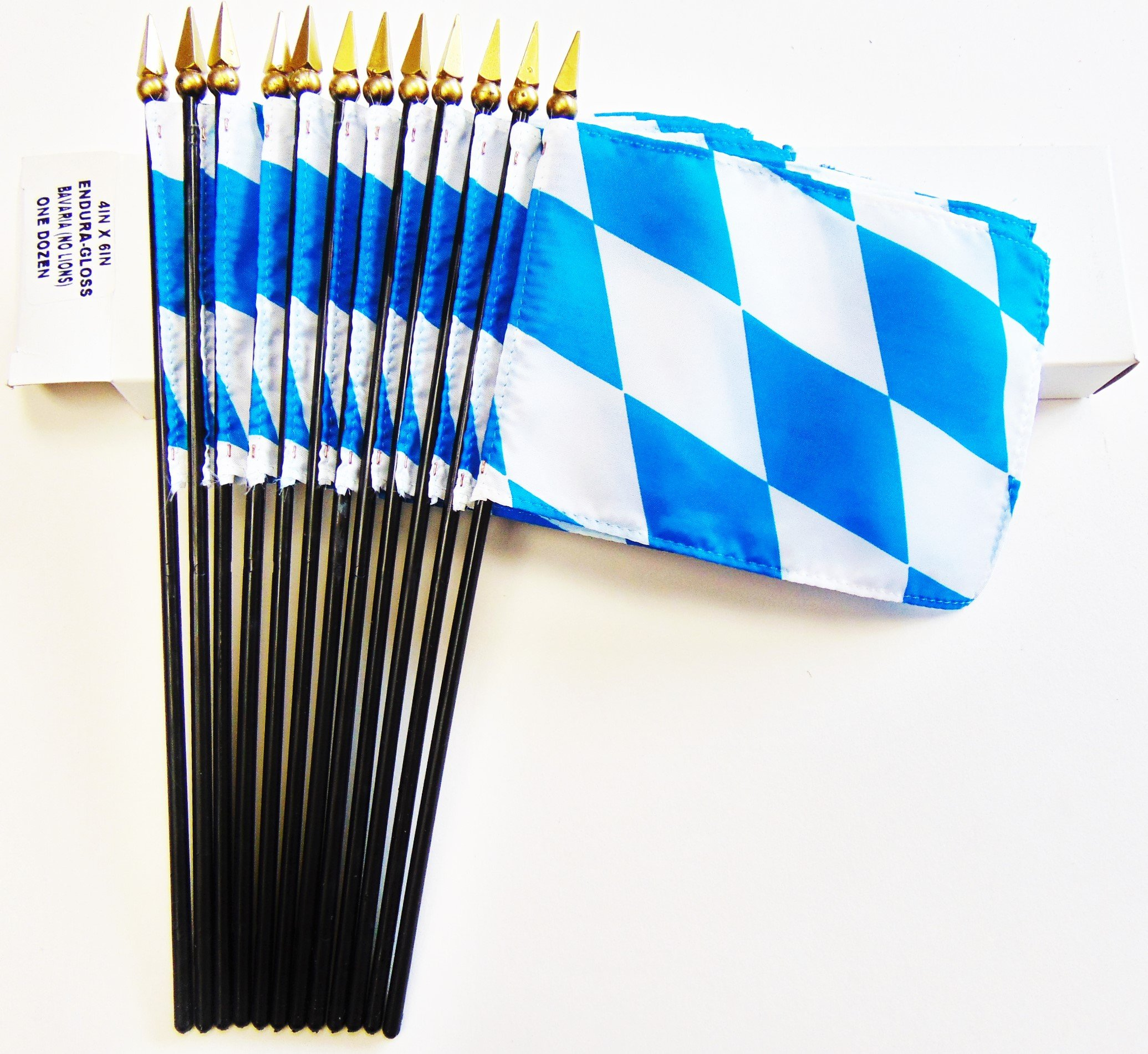 Made in USA!! Box of 12 Bavaria 4''x6'' Miniature Desk & Little Table Flags; 12 Office and Waving Small Mini Bavarian Handheld Stick Flags in a Custom Made Cardboard Box Made for These Flags