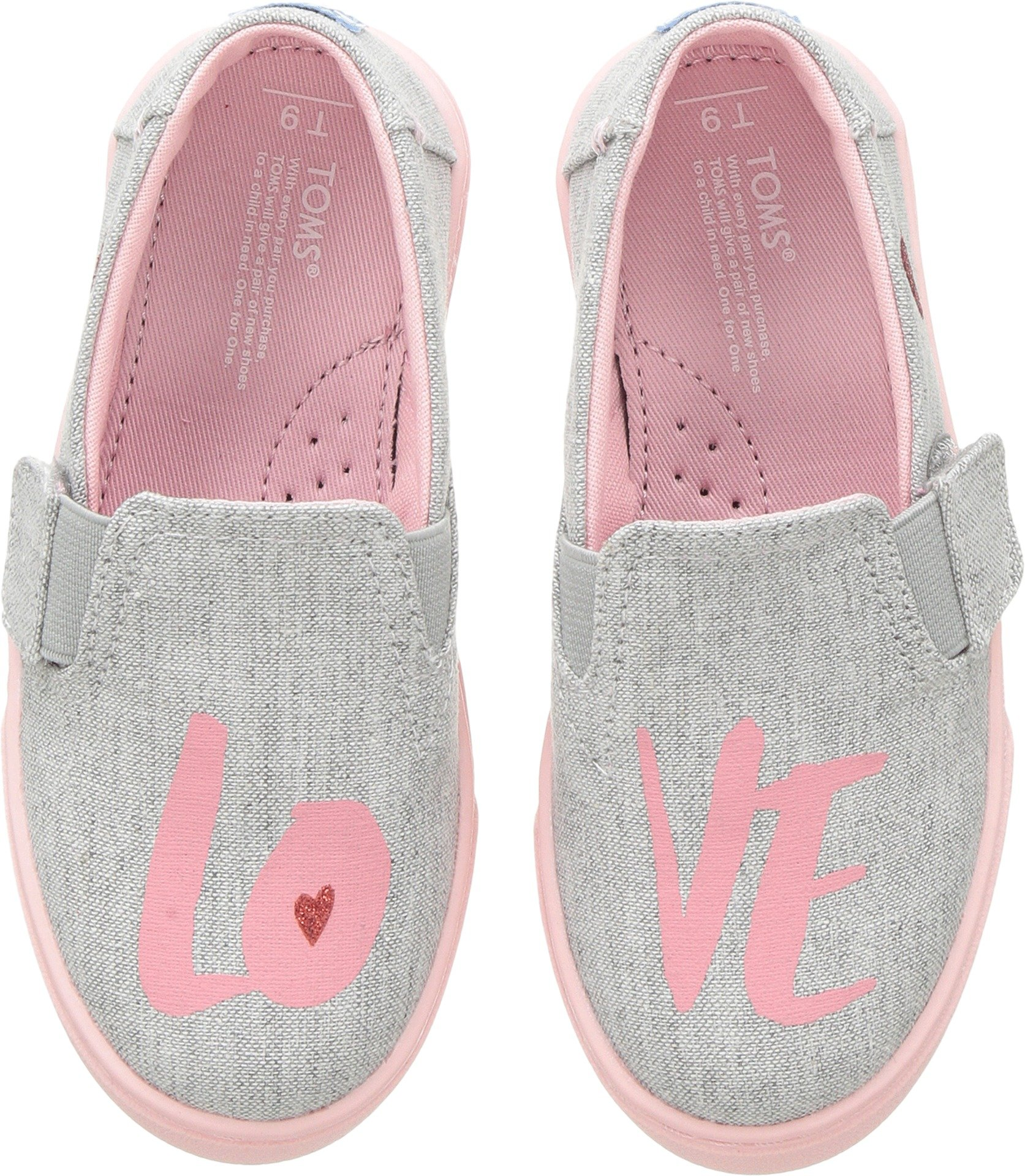 TOMS Tiny Luca Denim Chambray Slip-On, Size: 10 M US Toddler, Color Drizzle Grey Love