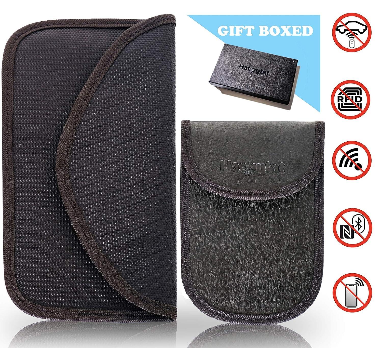 HAPPYTAT 1 x RFID keyless car key signal blocker pouch, 1 x RFID Faraday bag for car keys & Cell Phones