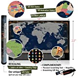 """Scratch the World Travel Map by Travel Revealer. XL 34x22"""" Scratch Off World Map Poster + US States, Country Flags, 1000's of Cities, Bonus Accessories. Silver Deluxe Edition. Perfect gift for husband"""