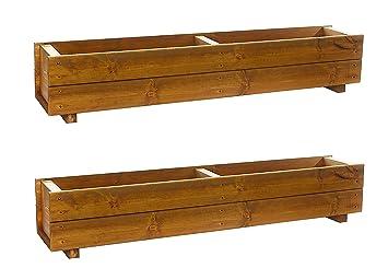 Set Of 2 X 120cm Wooden Trough Planters Large Wood Plant Trough