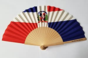 Dominican Republic Flag Fabric Folding Hand Fan with Bamboo Handle