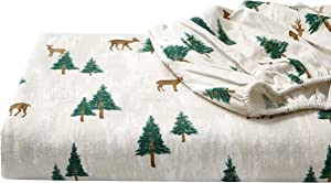 Eddie Bauer - Flannel Collection - 100% Premium Cotton Bedding Sheet Set, Pre-Shrunk & Brushed For Extra Softness, Comfort, and Cozy Feel, Twin, Deer Hollow