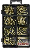 Handy Hooks Assortment Kit, Brass Polished, Includes Screw-In Cup Hooks and Square Hooks, 8 Different Sizes
