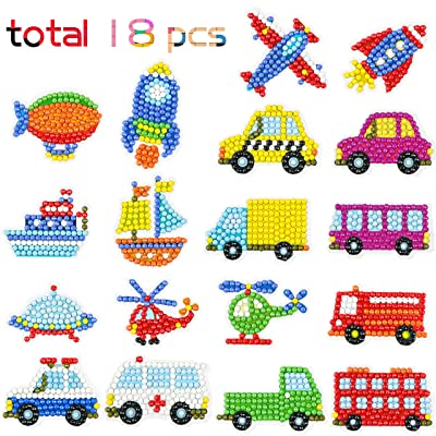 Ticiaga 5D DIY Diamond Painting Kits for Kids, Transportation Theme Stick Paint with Diamonds by Numbers Kit Easy to DIY, Shine Sparkle Mosaic Stickers DIY Handmade Art Craft, 18pcs Traffic Stickers: Toys & Games