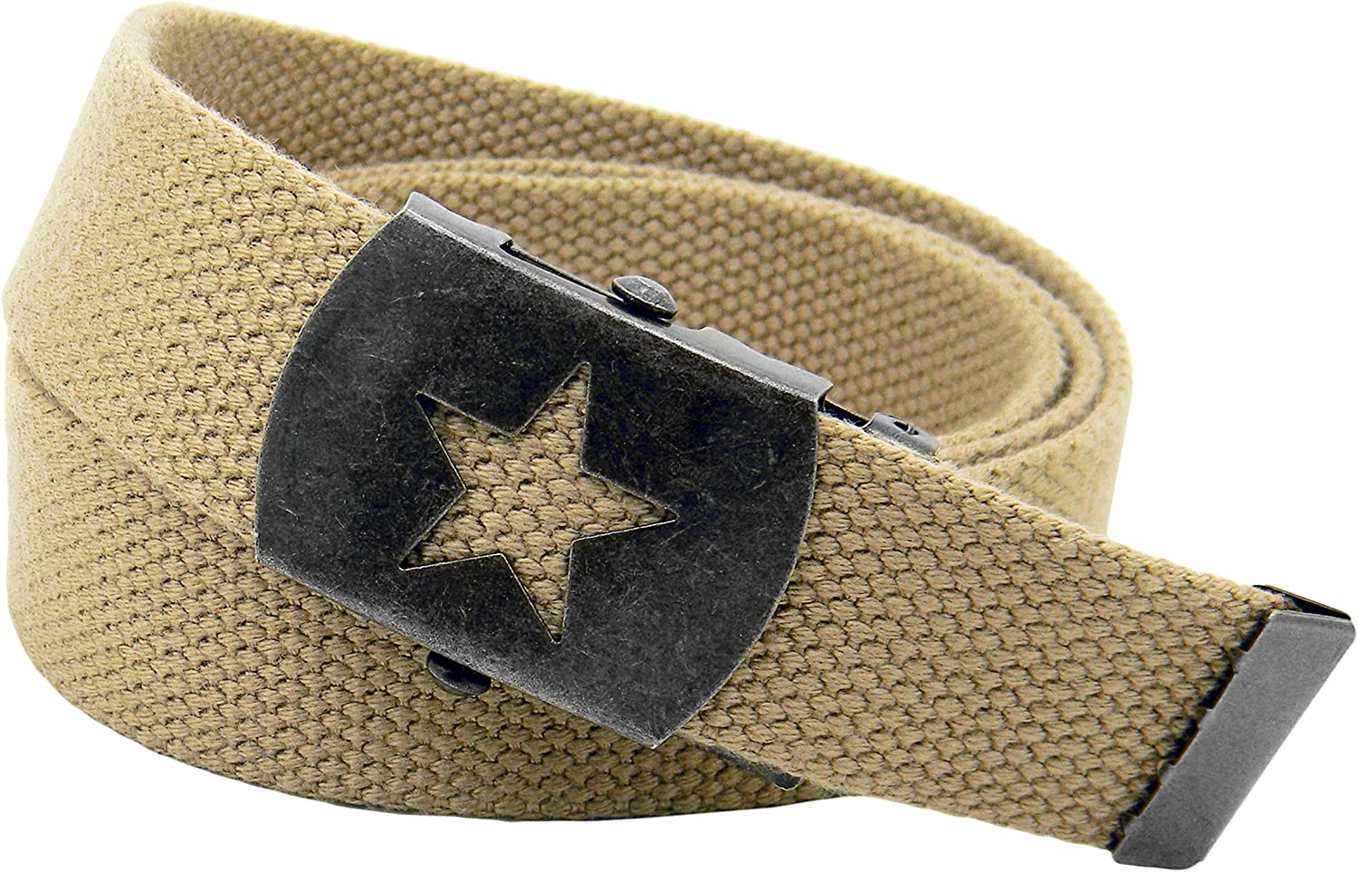 Boys Uniform Distressed Silver Star Slider Military Belt Buckle with Canvas Belt