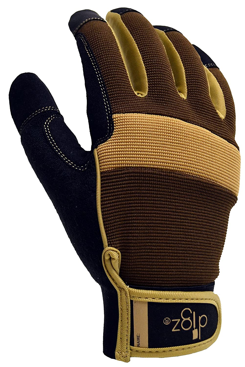 Digz 7673-23 Large Men\'s Gardening Gloves with Touchscreen Fingers - Brown