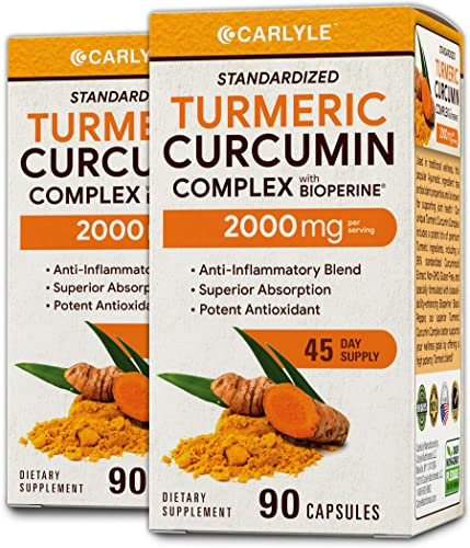 Turmeric Curcumin 2000 mg 180 Capsules with 95 Standardized Curcuminoids and Bioperine Pain Relief and Joint Support Non-GMO, Gluten Free by Carlyle