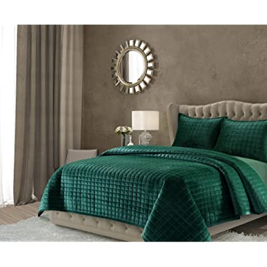 Tribeca Living FLORENCEQUIKIEG Florence Velvet Oversized Solid Quilt Set King Emerald Green