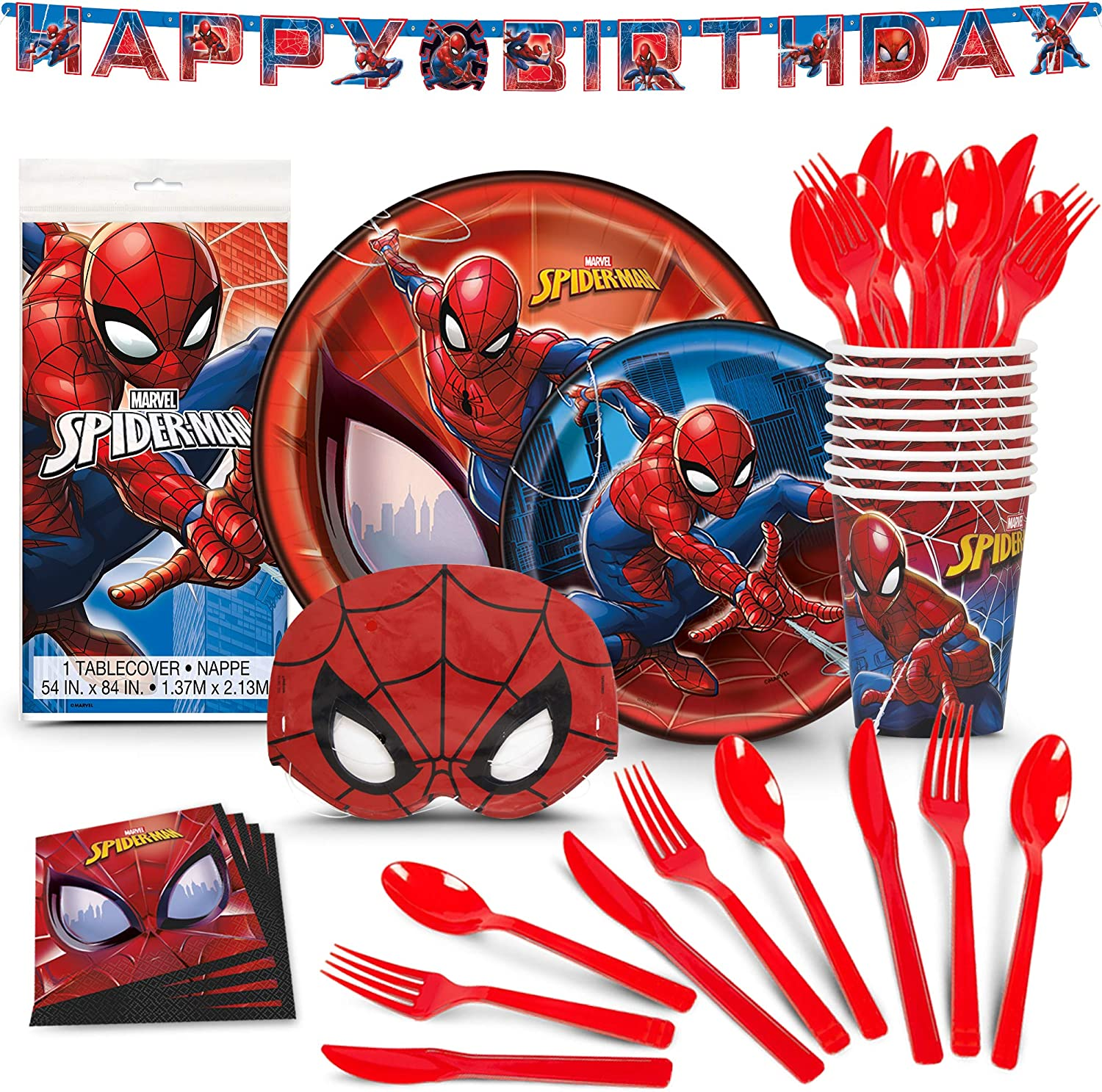 Spiderman Birthday Party Supplies Includes 86 Premium Pieces With Extra Cutlery and Spiderman Masks for Kids Superhero Party Decorations for Boys and Men