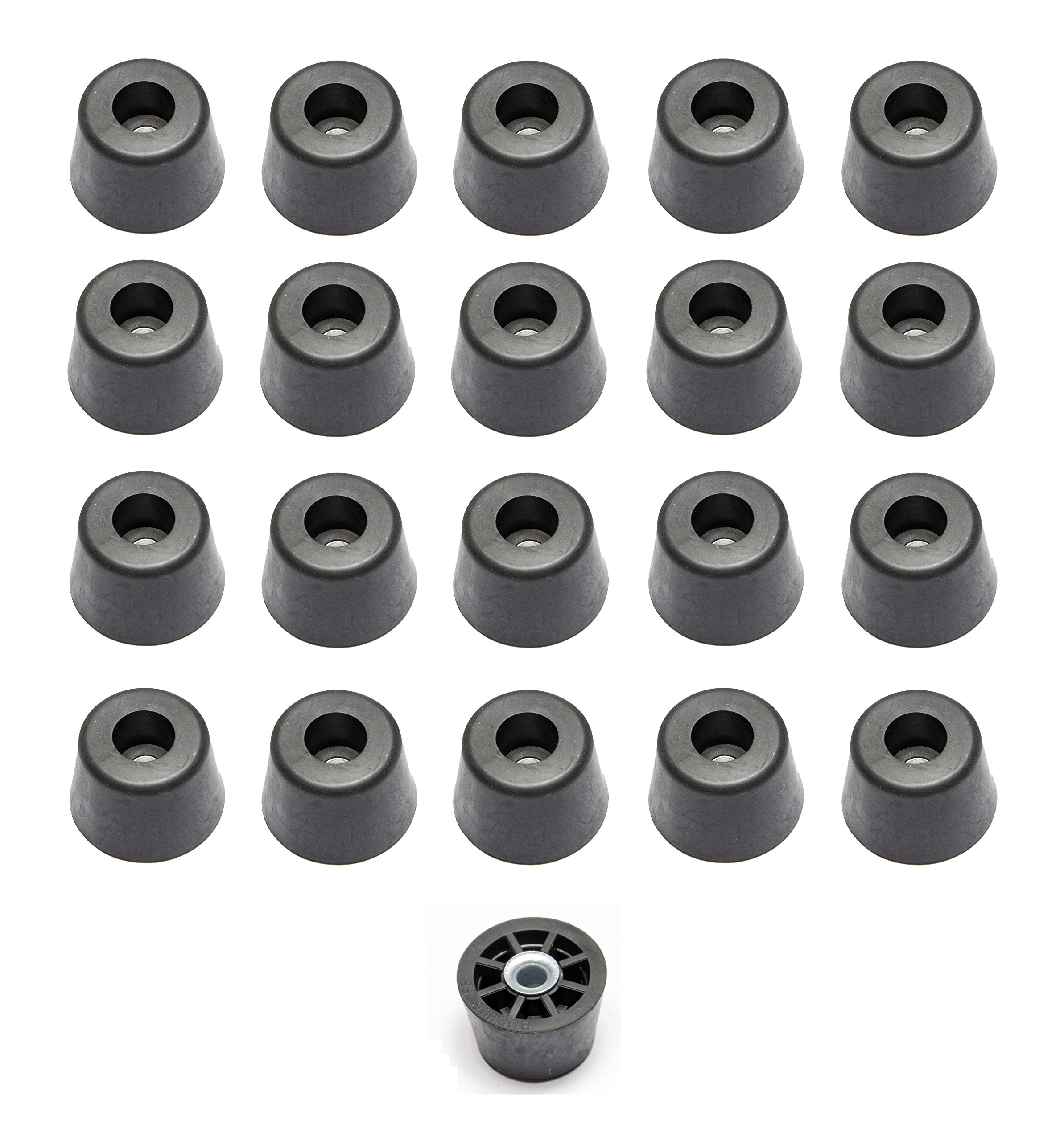 20 Medium Extra Tall Round Rubber Feet - .625 H x .932 D - Made in USA - Food Safe by Linear Motion Labs