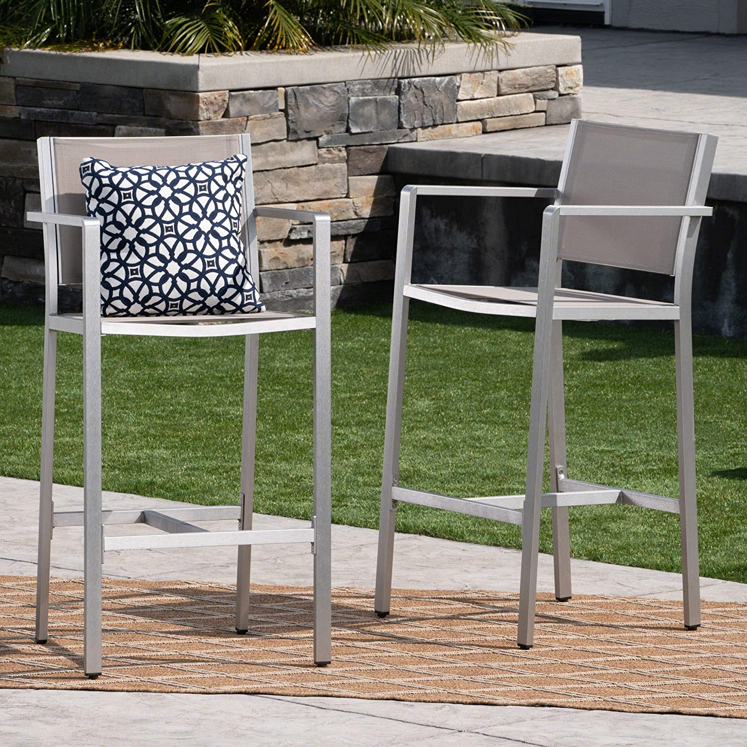 Christopher Knight Home 304258 Tammy Coral Outdoor Grey Mesh 29.50 Inch Barstools with Silver Rust-Proof Aluminum Frame (Set of 2),