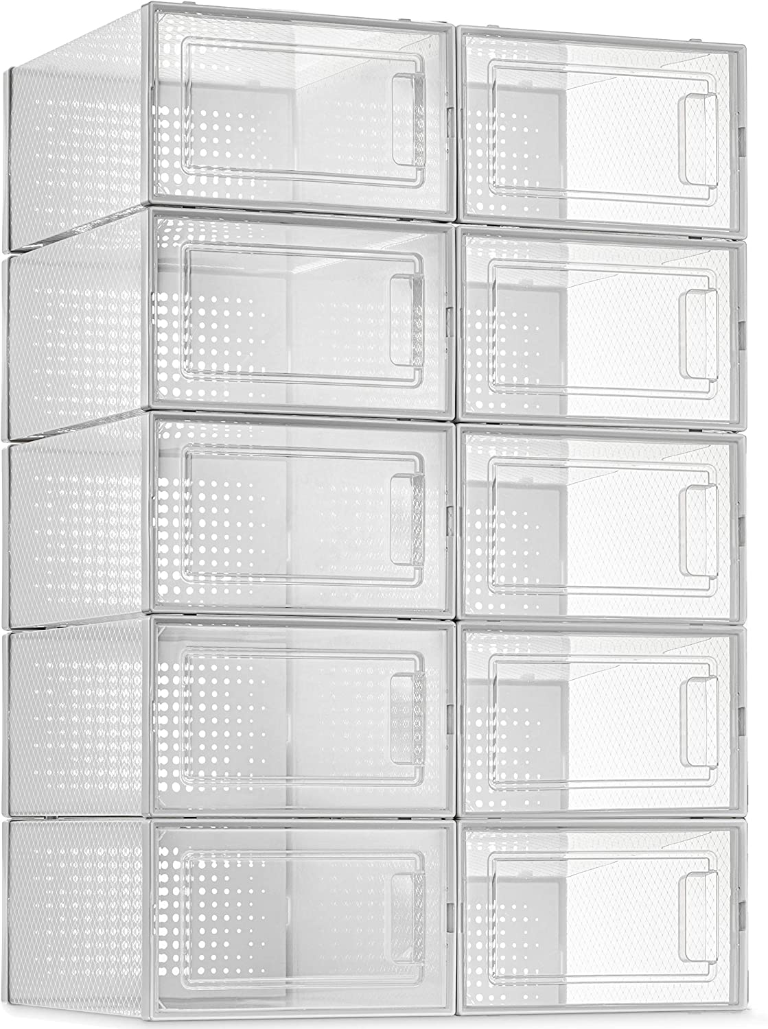 10 Pack Shoe Storage Boxes, Clear Plastic Stackable Shoe Organizer Bins, Drawer Type Front Opening Sneaker Shoe Holder Containers