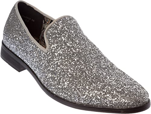 9275c5abc0aed sparko04 Mens Slip-On Fashion-Loafer Sparkling-Glitter Dress-Shoes