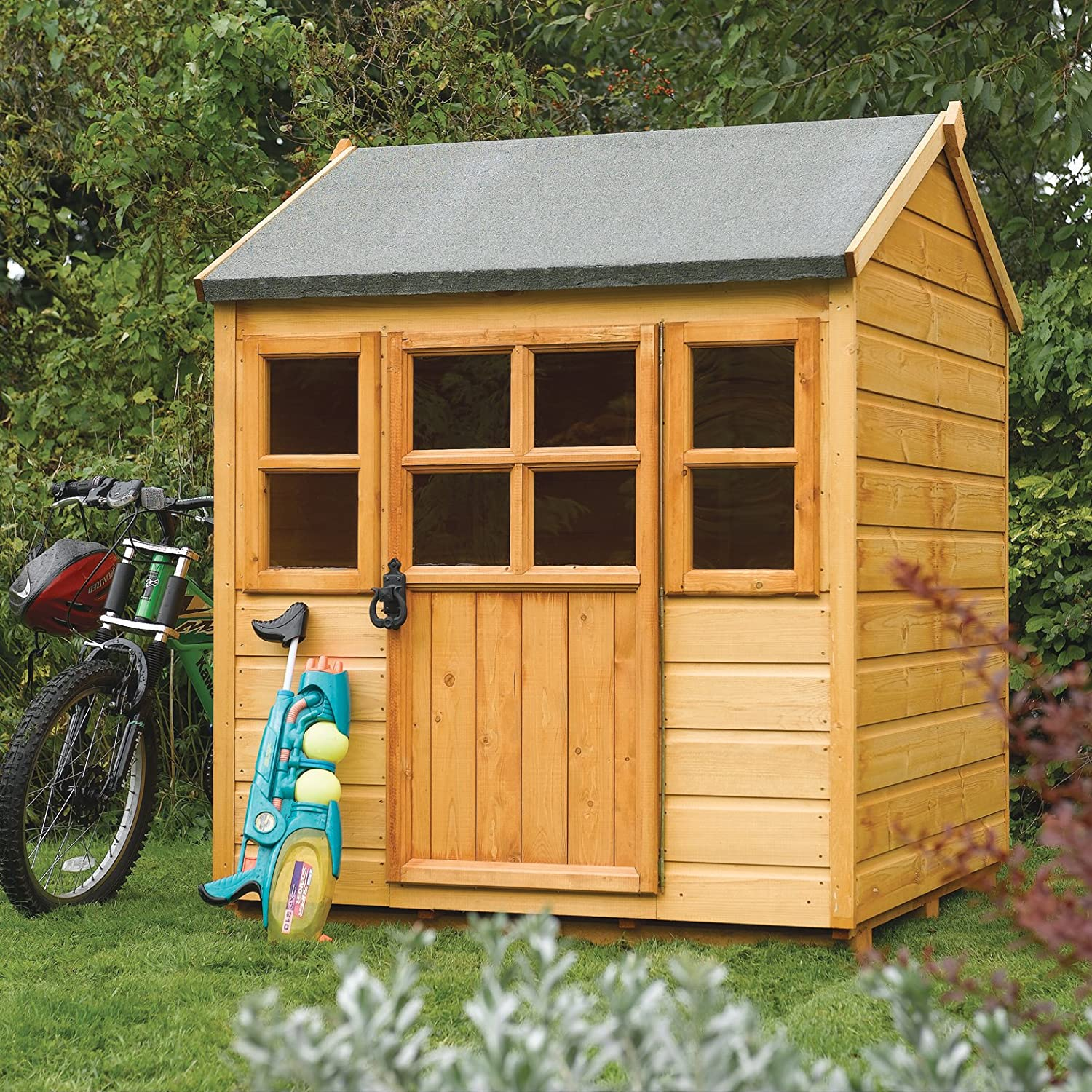 amazoncom bosmere phlodge rowlinson little lodge kids wooden play house honey brown finish garden outdoor - Garden Sheds For Kids