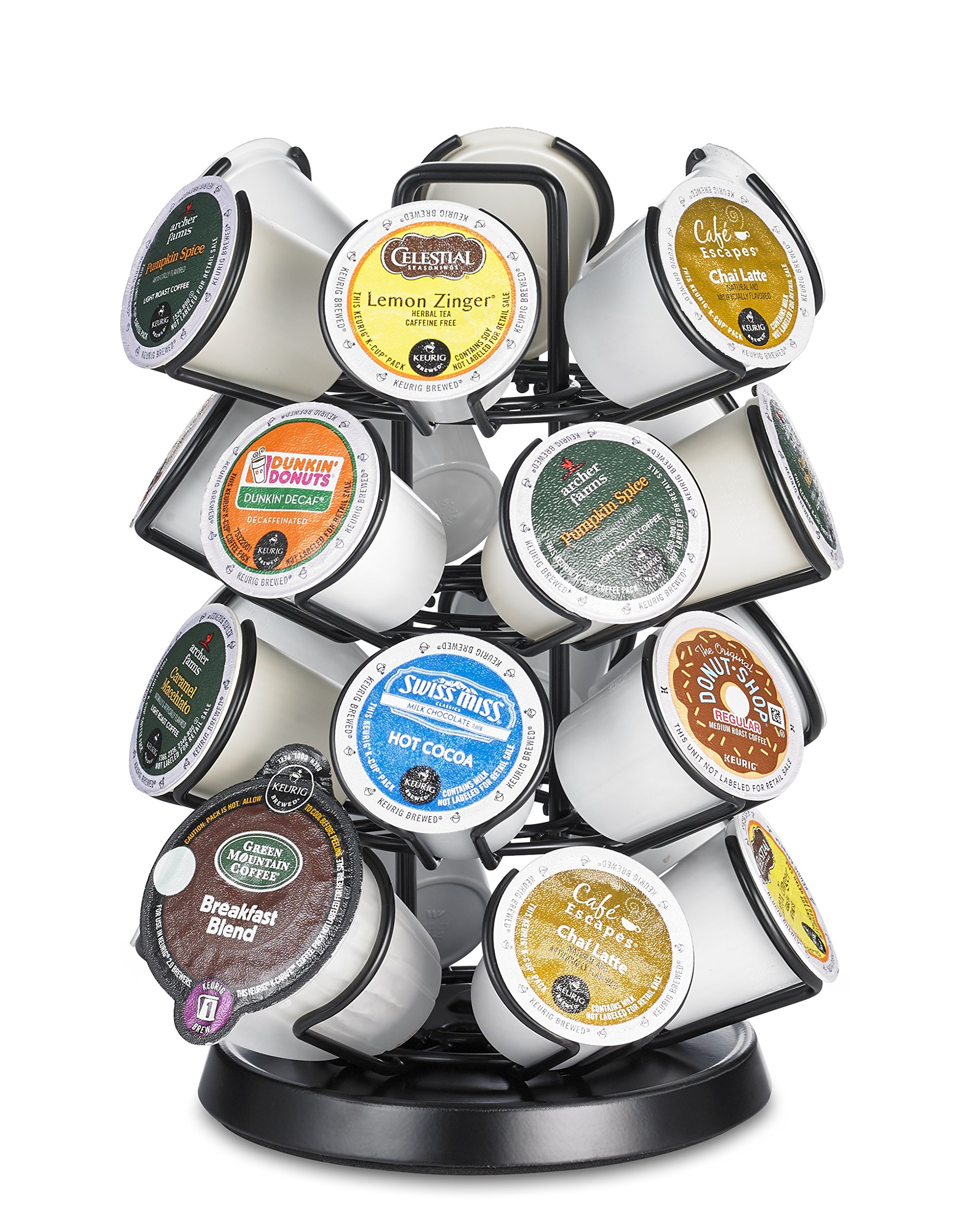 K Cup Storage Deluxe Steel Spinning Carousel, 24 Ct. Keurig, Black by Java Concepts