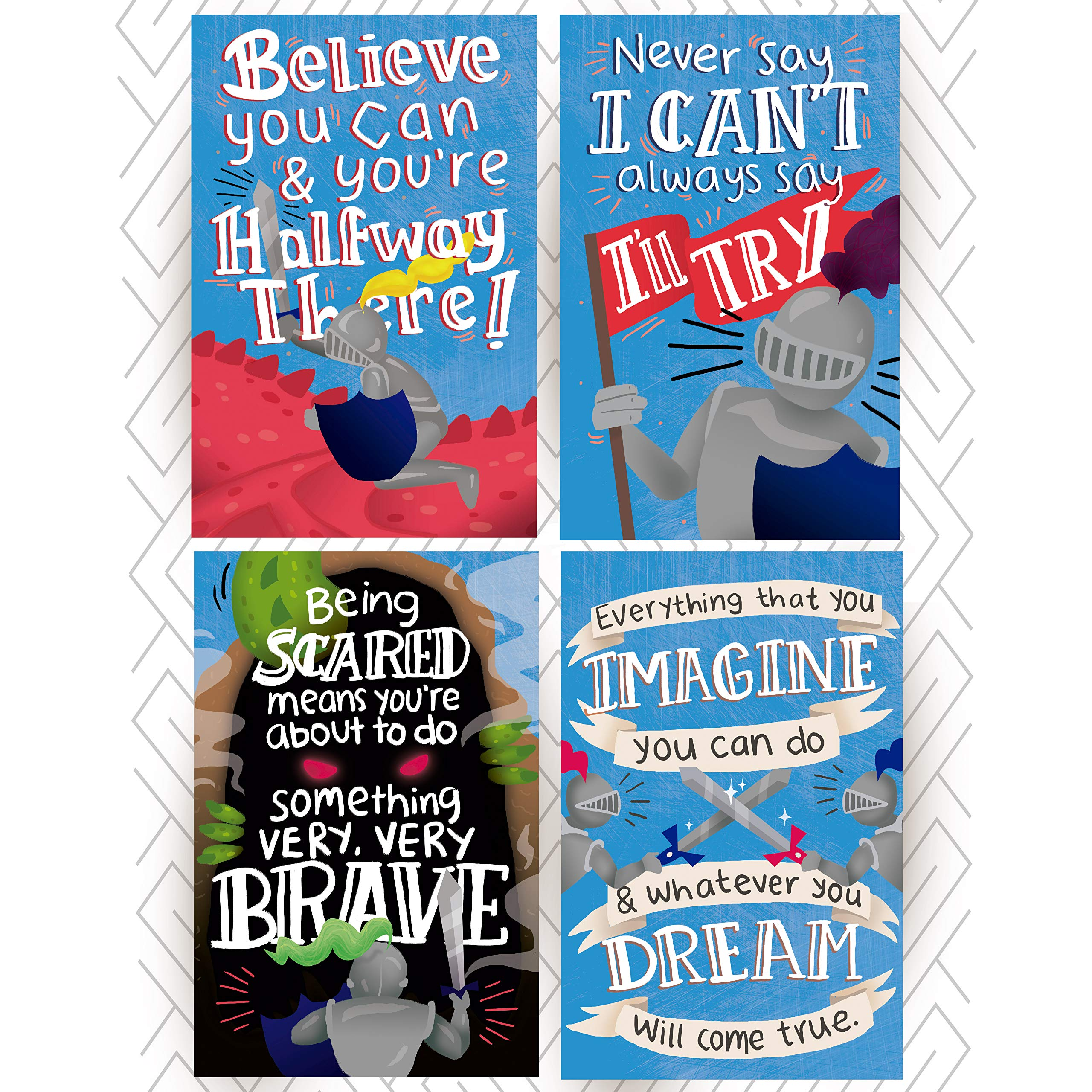 Kid's Room Posters with Inspirational & Motivational Phrases. Medieval Knights Theme with Dragons and Courageous Knights to Incentivize Your Kids to Achieve Whatever Goal They Set to Themselves by Throwback Traits
