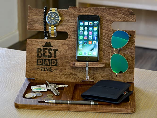 acde4b636324 Amazon.com  PERSONALIZED MENS GIFT Boyfriend Gift Personalized Gifts for  Dad wood docking station gift ideas for men boyfriend gift Gifts for Him   Handmade