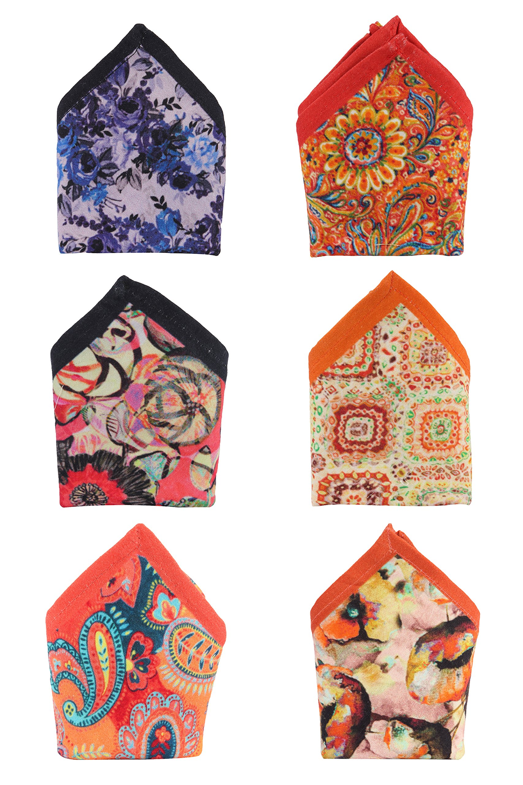 Assorted Colorful Digitally Printed Cotton Pocket Square Handkerchief Combo Pack of 6