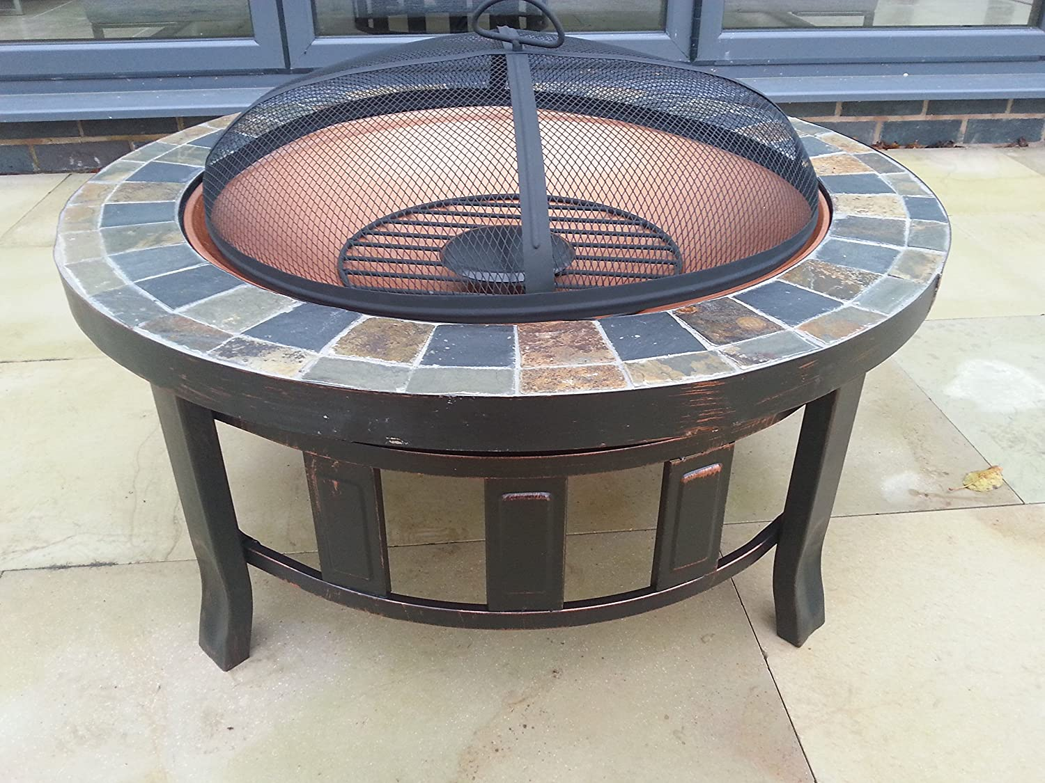 2015 Gladiator Tuscany Garden Patio Fire Pit Round Slate Mozaic Tiled  Decking Heater Metal Firepit Brazier Barbecue Table: Amazon.co.uk: Garden U0026  Outdoors