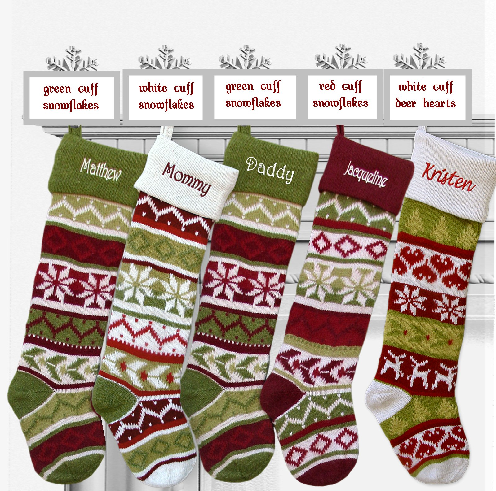 SET OF 5 Oversized 28'' Knitted Christmas Stockings FairIsle Knit + Monogram - CHOOSE YOUR DESIGNS - Embroidered with Choice of YOUR Names by CHRISTMAS-STOCKINGS-by-STOCKINGFACTORY (Image #2)