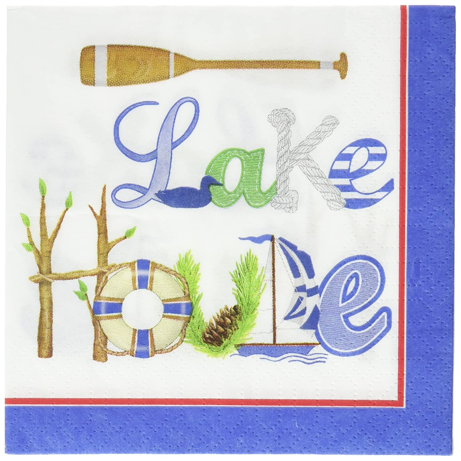 Paperproducts Design Lake House Paper Beverage Cocktail Napkin 5 by 5-Inch 1251064