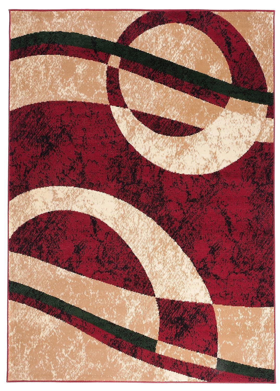 Carpeto Modern Teppich Rot 200 x 300 cm Gestreift Muster Kurzflor Monaco Kollektion