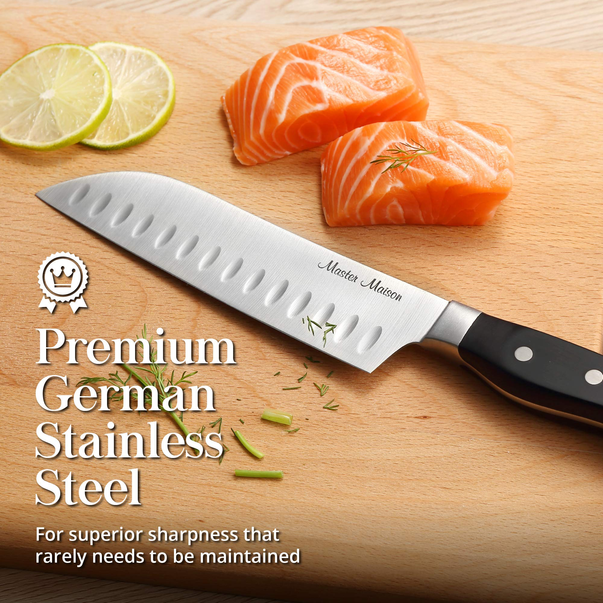 19-Piece Premium Kitchen Knife Set With Wooden Block | Master Maison German Stainless Steel Cutlery With Knife Sharpener & 8 Steak Knives by Master Maison (Image #10)