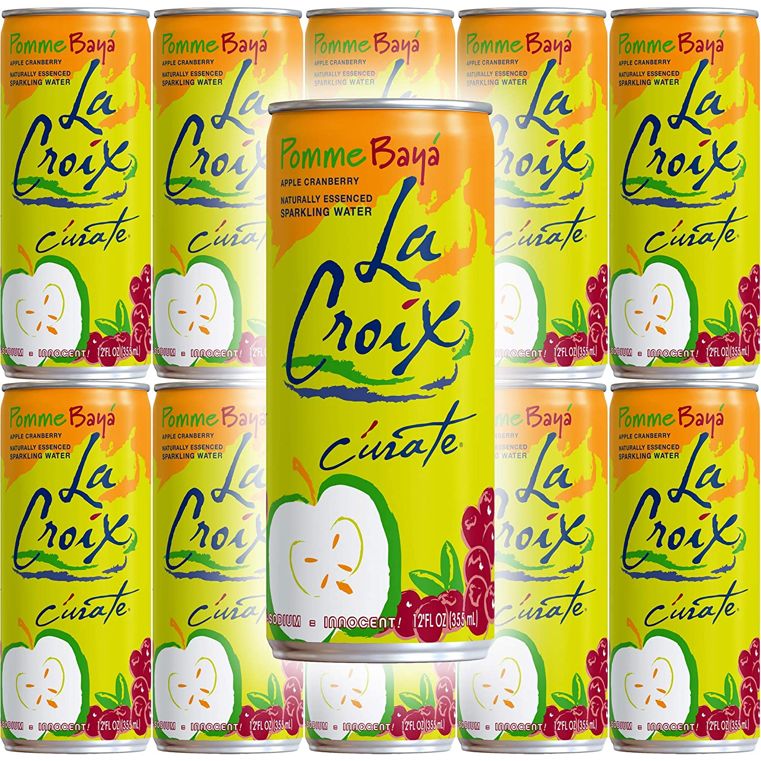 La Croix Pomme Baya, Apple Cranberry Flavored Naturally Essenced Sparkling Water, 12oz Tall Can (Pack of 10, Total of 120 Oz)