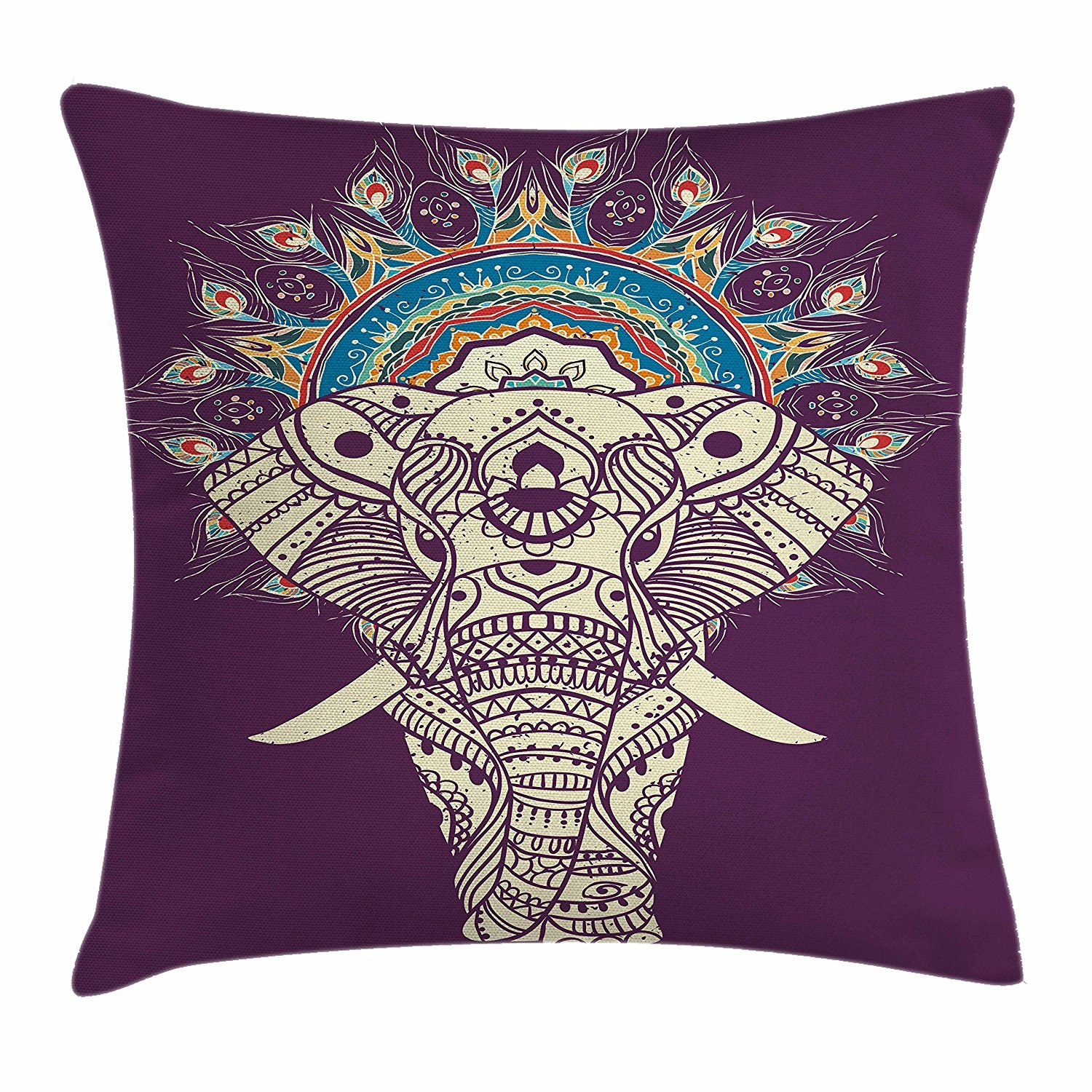 Bohemian Throw Pillow Cushion Cover, Ethnic Traditional Patterns with Swirl Floral Detail and Elephant with Plum Backdrop, Decorative Square Accent Pillow Case, 18 X 18 inches, Multicolor Cool pillow