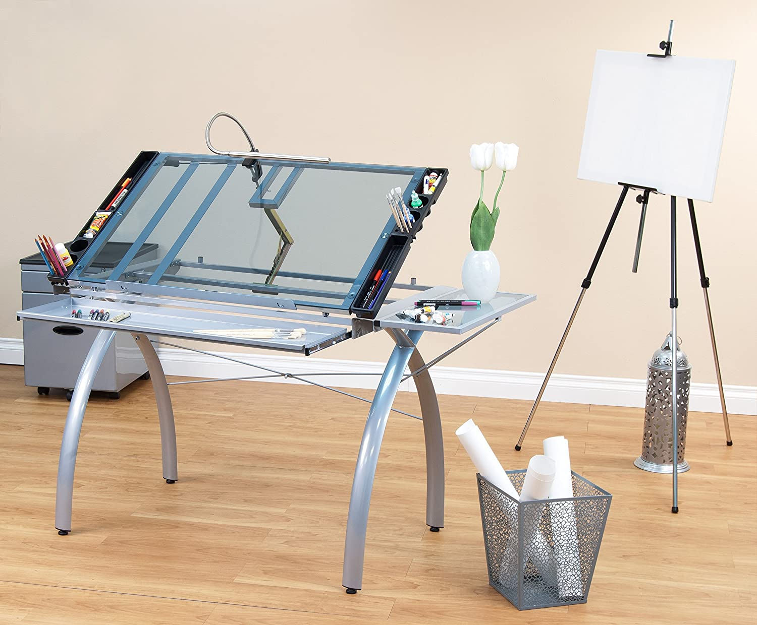 Studio designs futura craft station with glass top - Amazon Com Studio Designs 10095 Futura Craft Station With Folding Shelf Silver With Blue Glass Arts Crafts Sewing