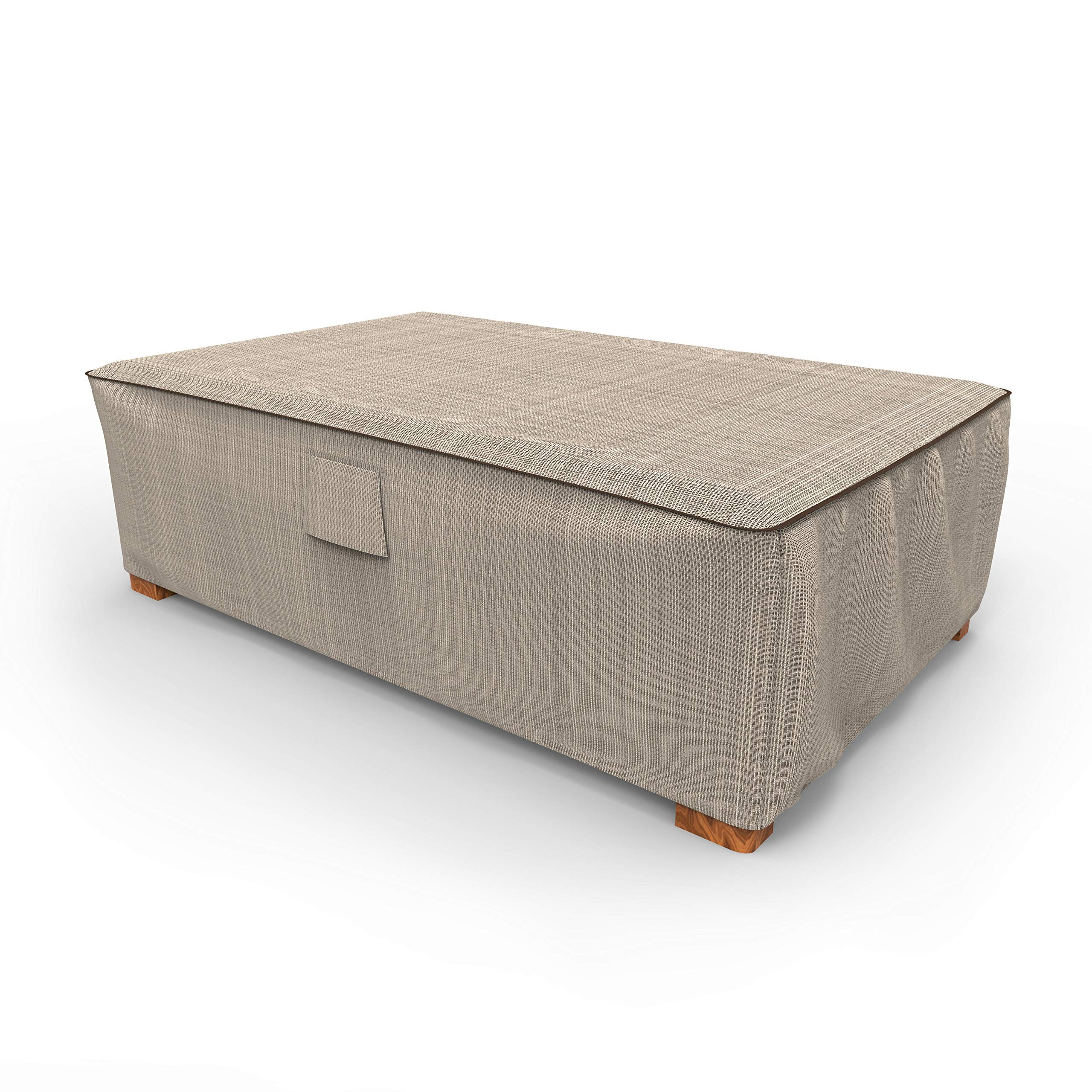 NeverWet Signature Patio Ottoman Cover/Coffee Table Cover, Large - Black Ivory, P5A36PMNW2