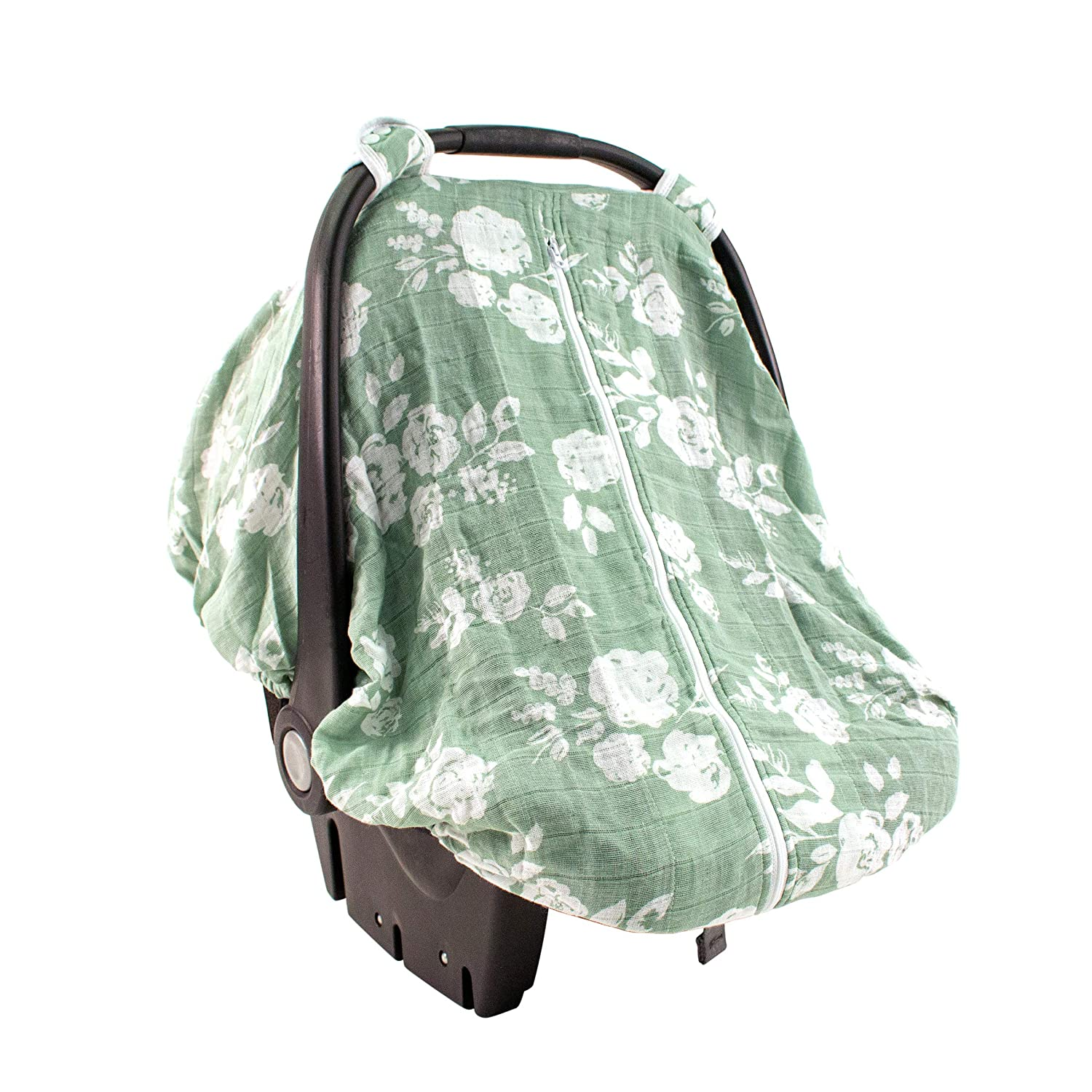 Bebe au Lait Classic Muslin Car Seat Cover, Easy Snap Straps, Fully Zippered Opening - Vintage Floral
