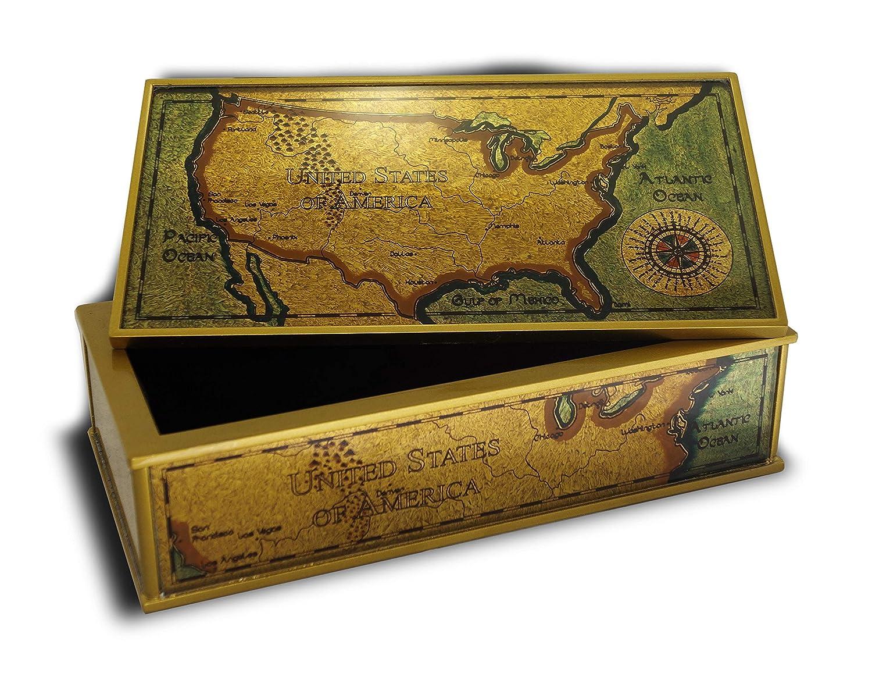 Amazon.com: Small rectangular chest - Du Cote du Parc - Hand ... on 1st usa map, broken usa map, license plate usa map,