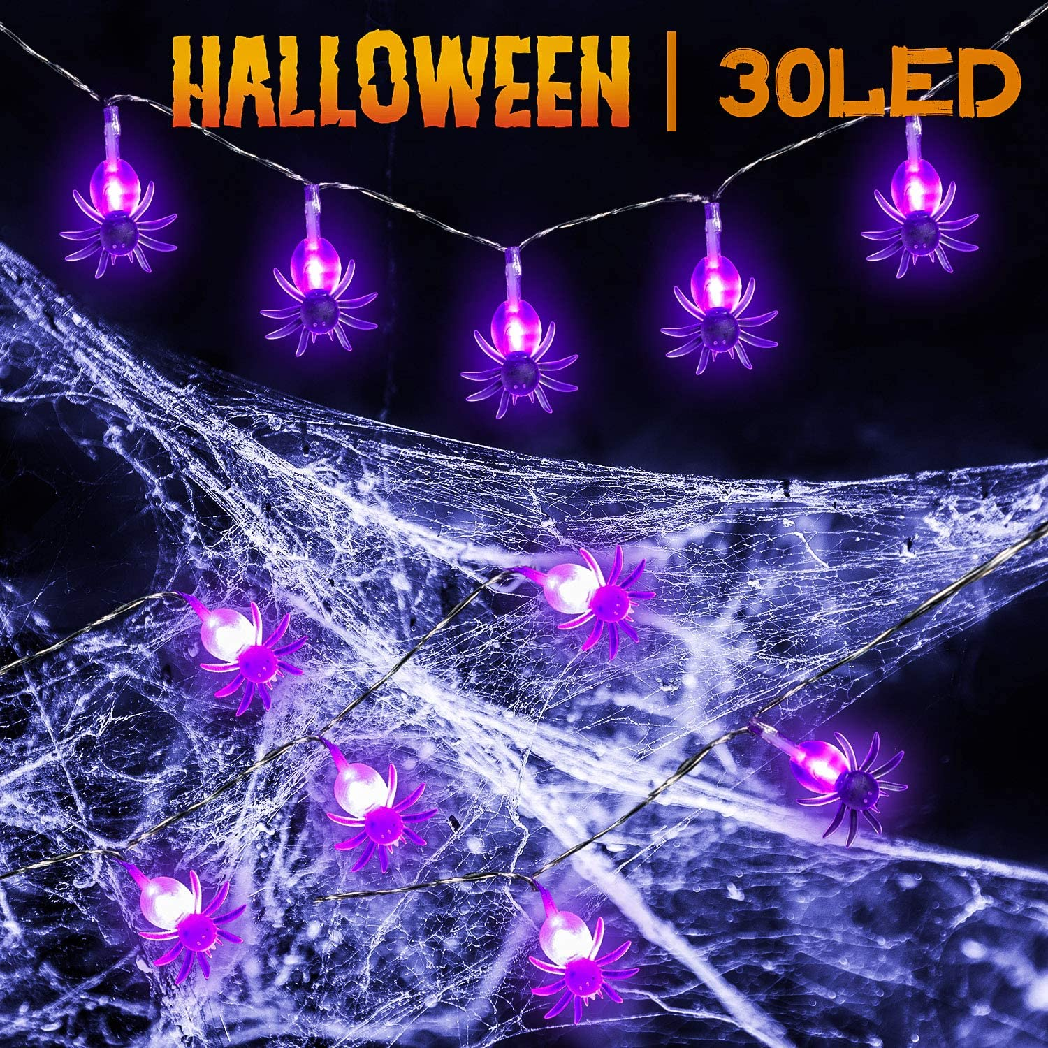 Halloween Spider Lights 30 LEDs Spider String Lights 9.8 Feet Battery Operated Purple Halloween String Lights 2 Modes Spooky Wall Decoration Lights for Halloween Window Porch Outdoor Indoor Decor