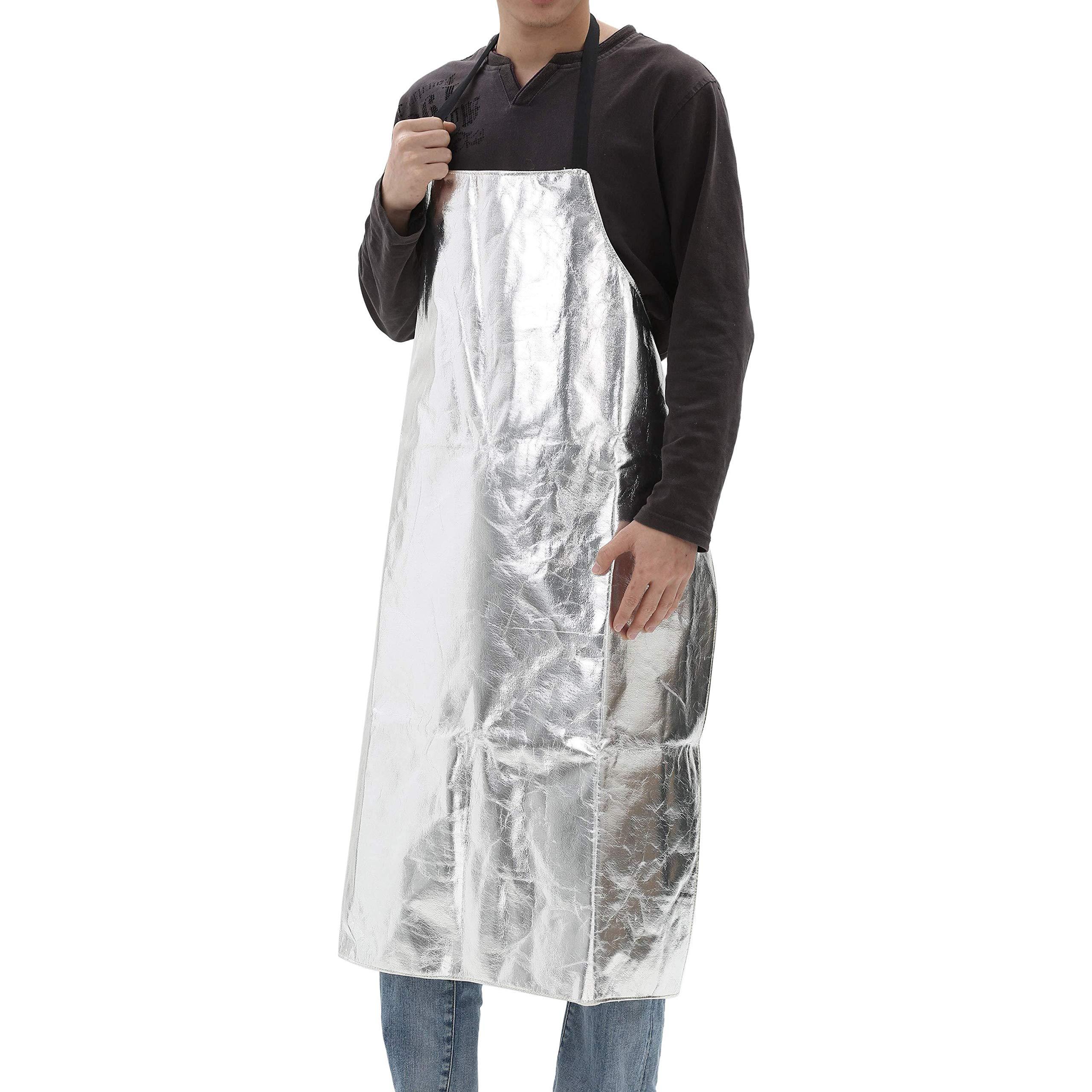Mufly Apron Bib Style Aluminized Heat Resistant Apron Flame Resistant Apparel Safety Coat Splash Proof Aluminized