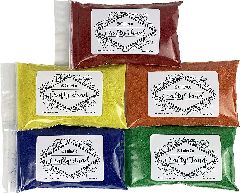 CuteyCo Crafty Sand Pack - 5 Colors: 2.5 lbs of Vibrant Craft Sand & Play Sand: Rainbow