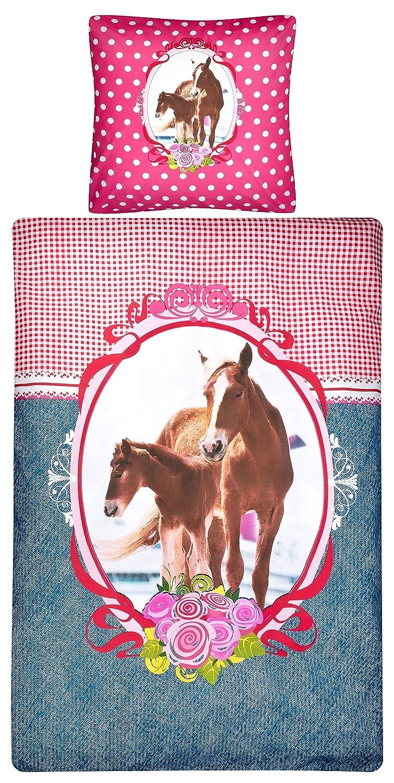 Aminata Kids Bettwäsche 135x200 Cm Kinder Mädchen Braune Pferde