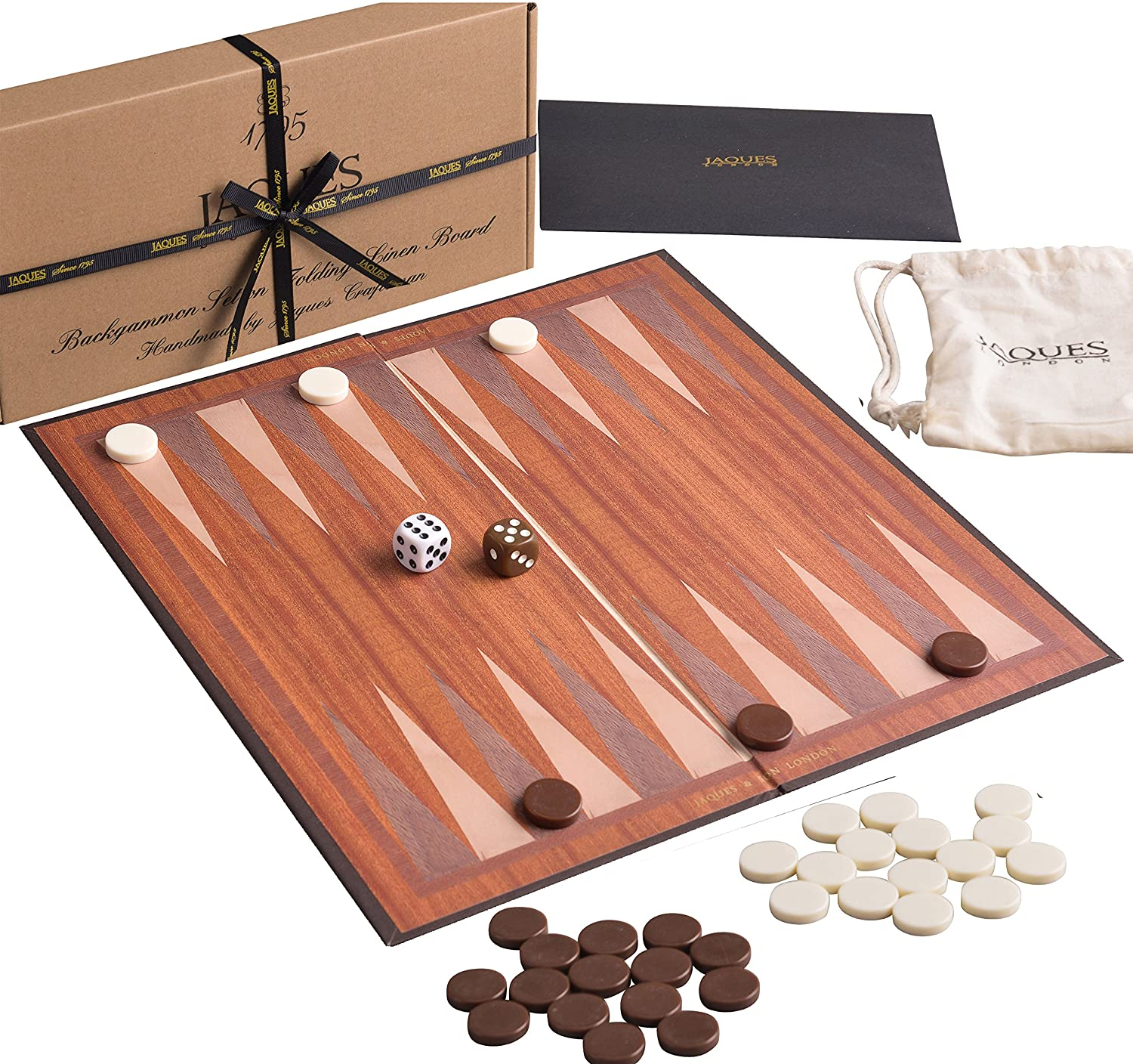 Jaques of London Backgammon Set for ALL ages  These Travel Backgammon Sets  are made from Folding Board - 12