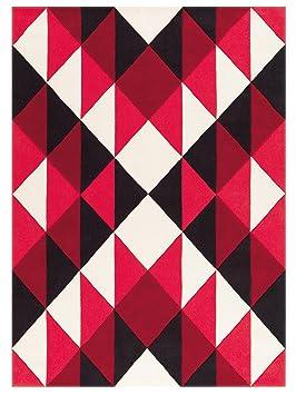 Arte Espina Tapis Graphique Arlequin Rouge Noir Maori 120x180