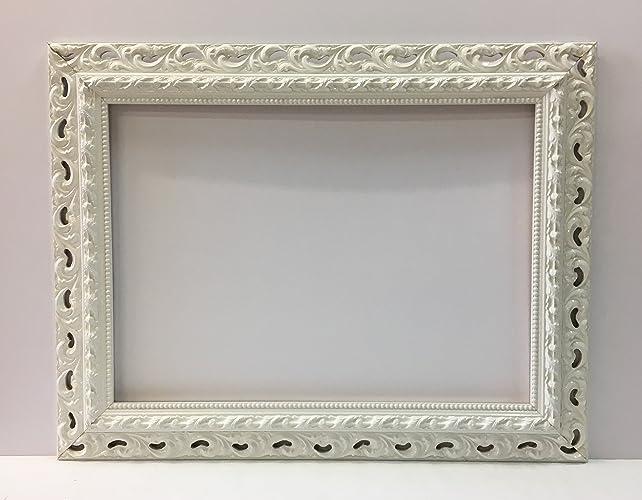 Specchio rettangolare con cornice barocca traforata bianca laccata ...