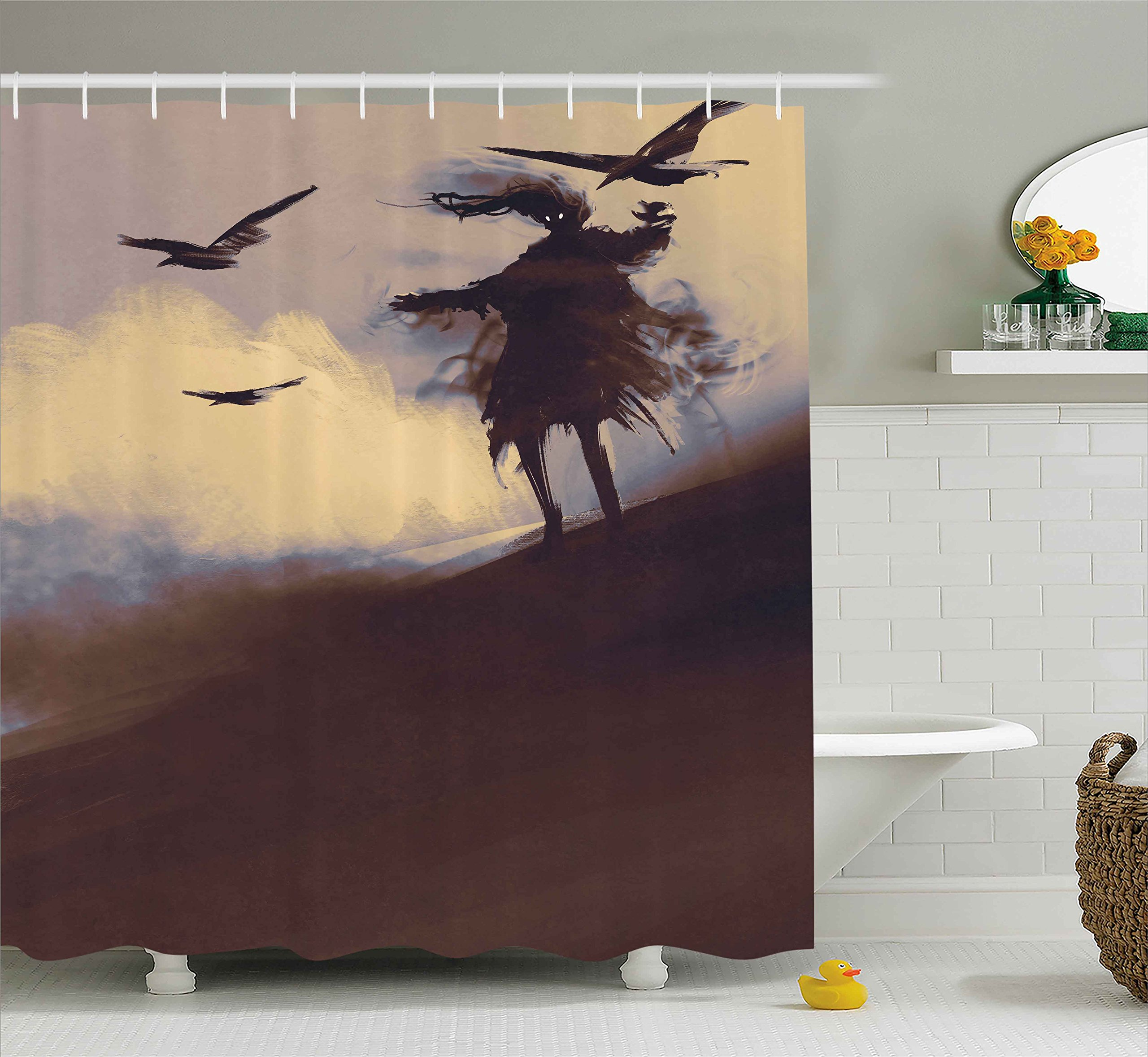 Ambesonne Horror Shower Curtain, Dark Soul from a Scary Movie on The Hills with Clouds and Flying Crows Print, Fabric Bathroom Decor Set with Hooks, 75 inches Long, Brown Mauve Begie