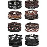 Jstyle 28Pcs Braided Leather Bracelet for Men...