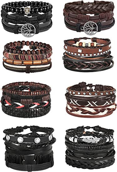 Black, White, Brown Suitable for Mens Vintage Leather Multi-Layer Alloy Woven Leather Bracelet Gift Personality Fashion to Send Boyfriend Bracelet WSQJPER888 Bracelet Color : Brown1