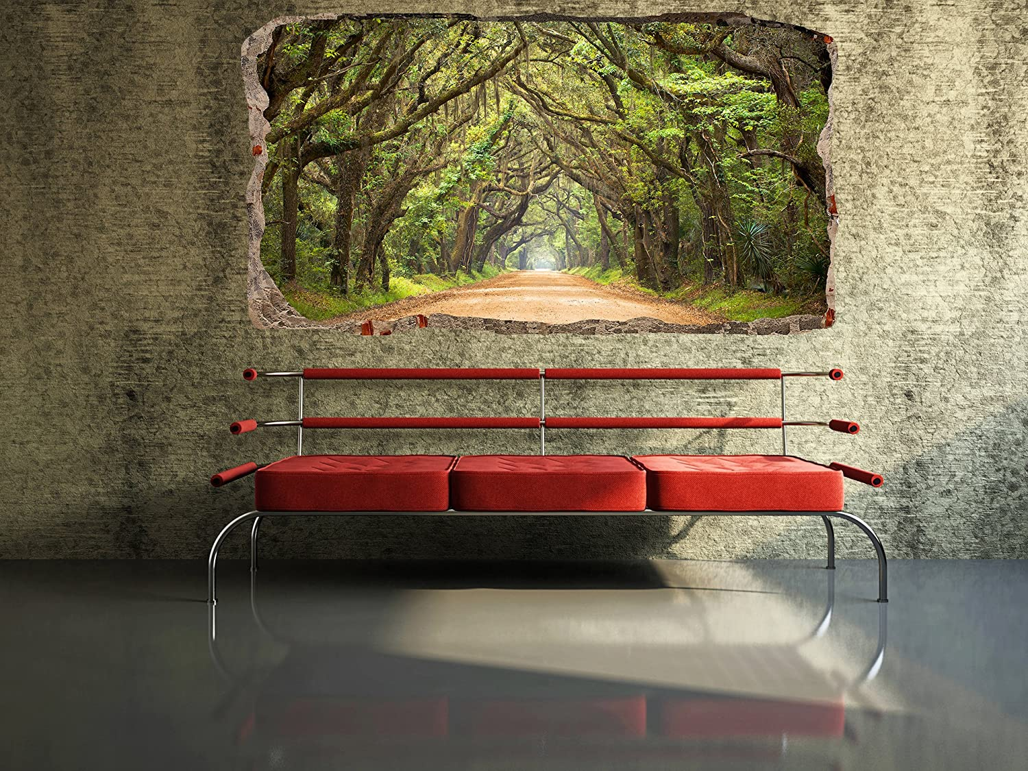 Startonight 3D Mural Wall Art Photo Decor Window Green Tunnel Tree Wall  Paper That Glows In The Dark  Large 32.28î By 59.06î Wall Mural Wallpaper  For Living ... Part 32