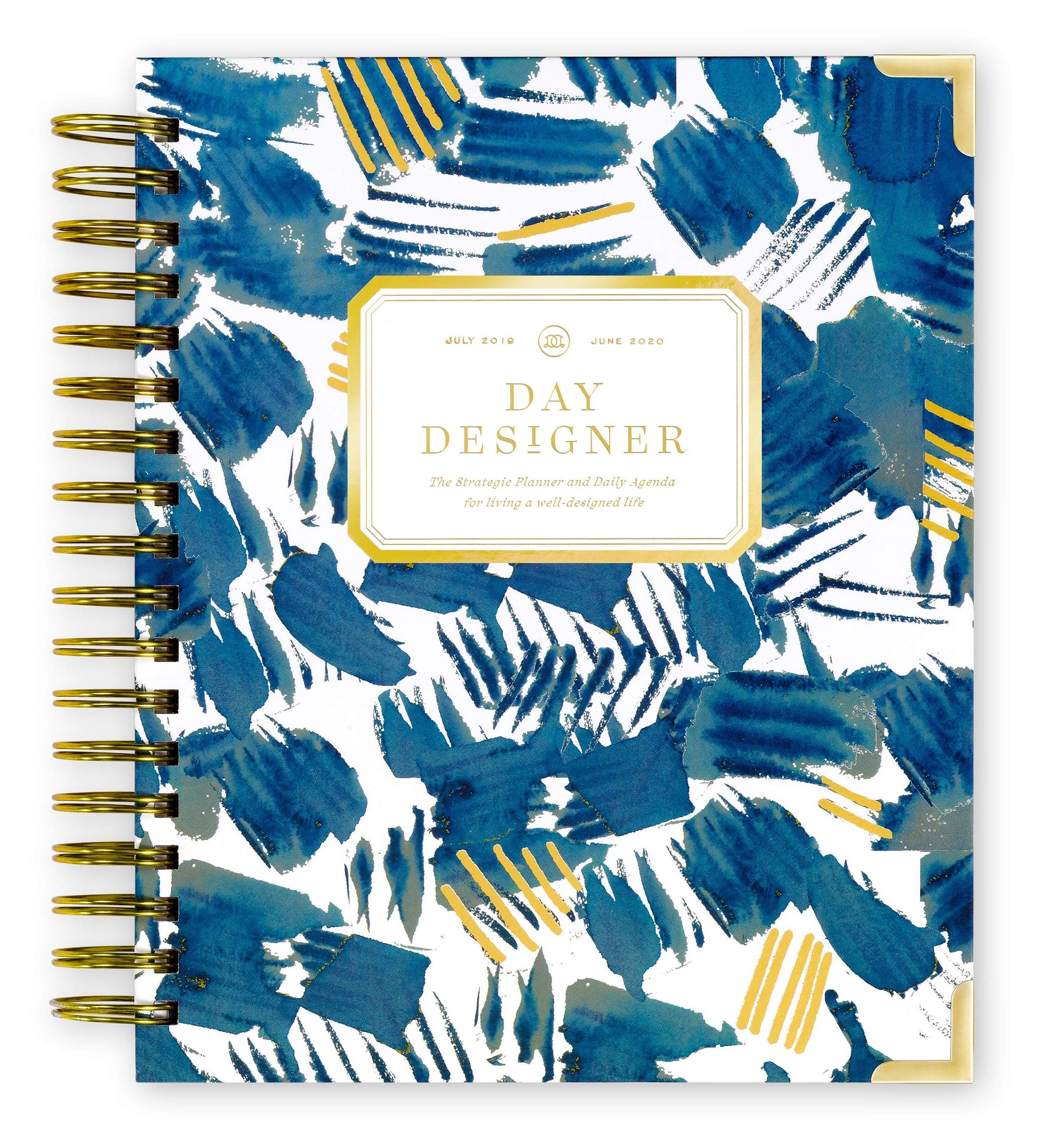 Day Designer 2019-2020 Daily Life Planner and Agenda, Hardcover, Twin-Wire Binding, 9'' x 9.75'', Brushstrokes