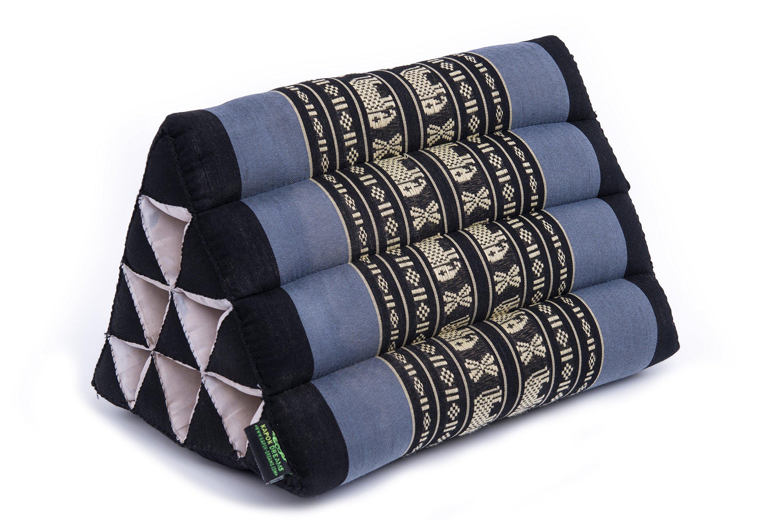Kapok Dreams Thai Triangle Pillow 13''x8'', Triangular Cushion (Medium Size), 100% Kapok-Stuffing, Blue Elephants. by Kapok Dreams